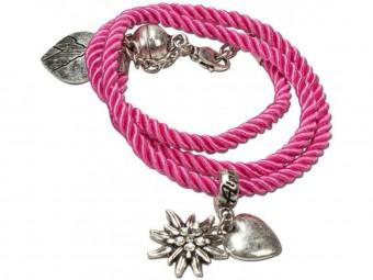 Wickelarmband Edelweiß pink