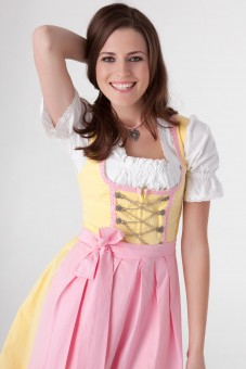 3-piece yellow mini dirndl with chain lacing