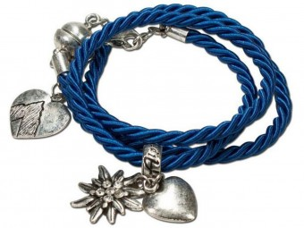 Braided Bracelet with Silver Charms, Blue
