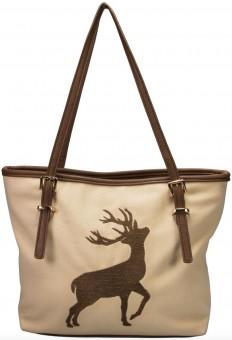 Trachten Handtasche mit Hirschstickerei beige