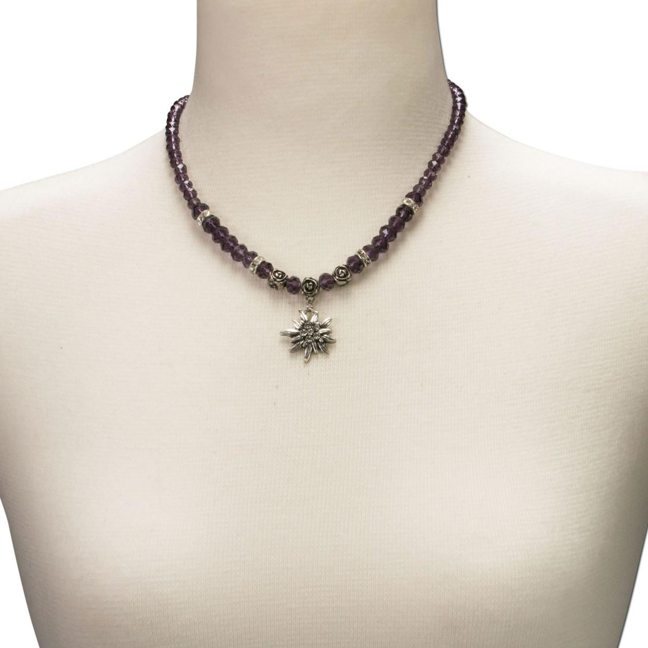 Perlenhalskette kleines Edelweiß lila