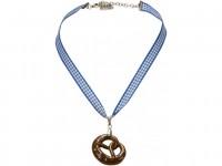 Vorschau: Trachten Halskette Brezel blau
