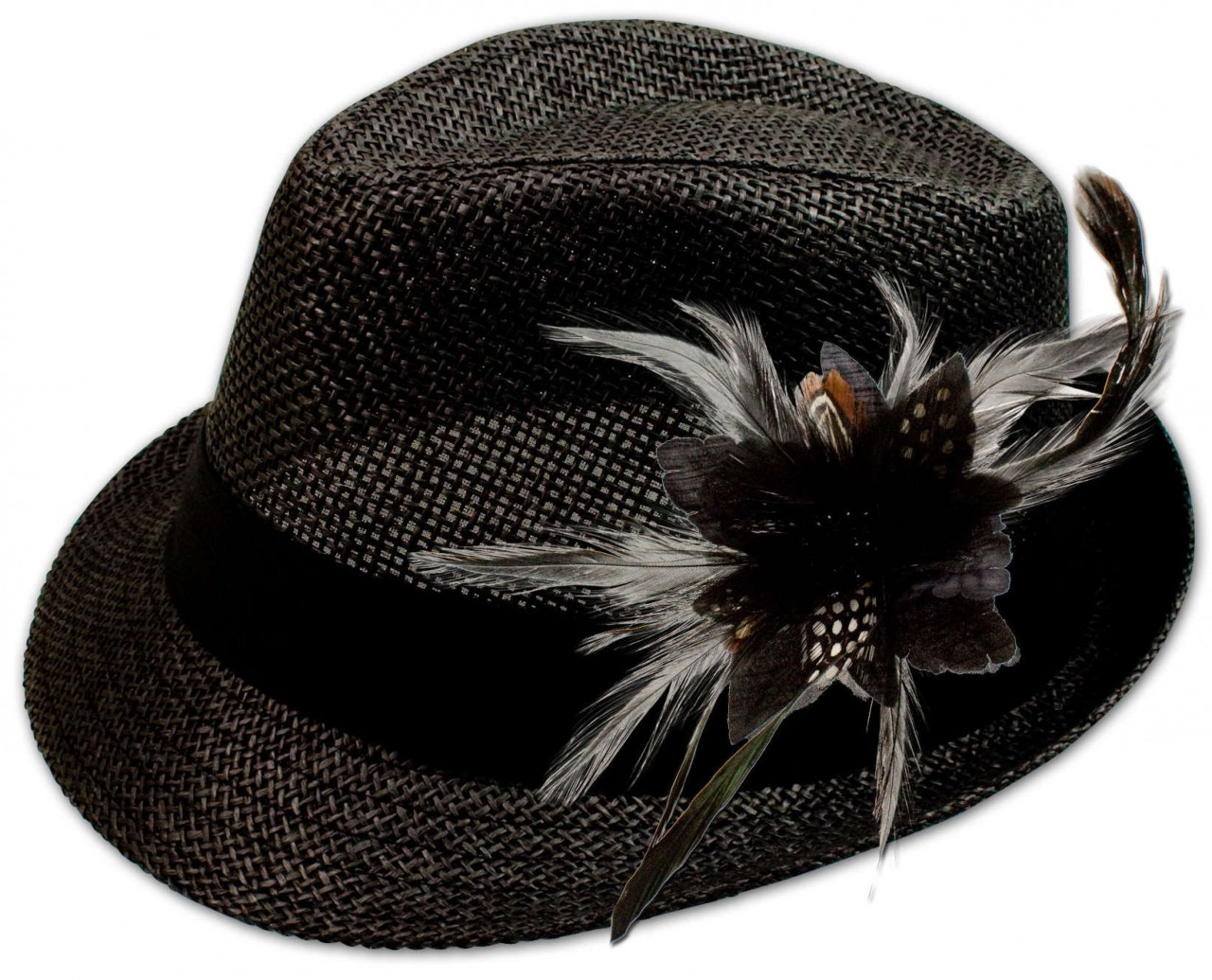 Straw hat Leni with feather brooch black
