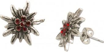 Ohrstecker Edelweißblüte mini rot