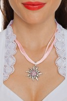 Preview: Satin Edelweiss Necklace, Rose Pink