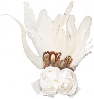 Federbrosche Rose weiß