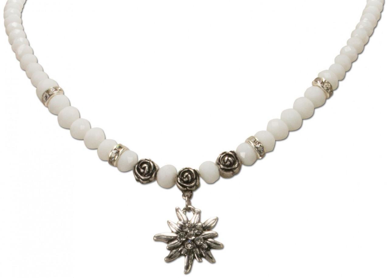 Perlenhalskette kleines Edelweiß weiß