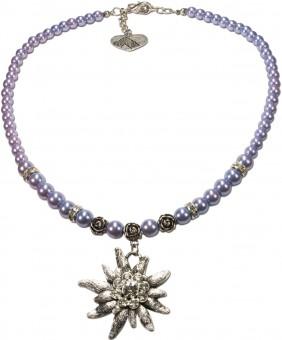 Perlenhalskette großes Edelweiß hellblau