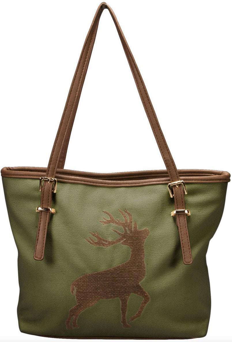 Trachten Handtasche mit Hirschstickerei grün