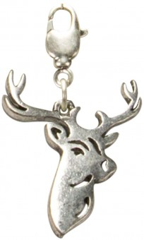 Trachten Deer Head Pendant, Antique Silver