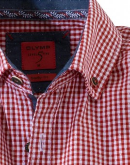 Olymp Shirt Traditioneel shirt rood / wit