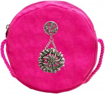 Trachten Rundtasche mit Edelweiß-Pin pink