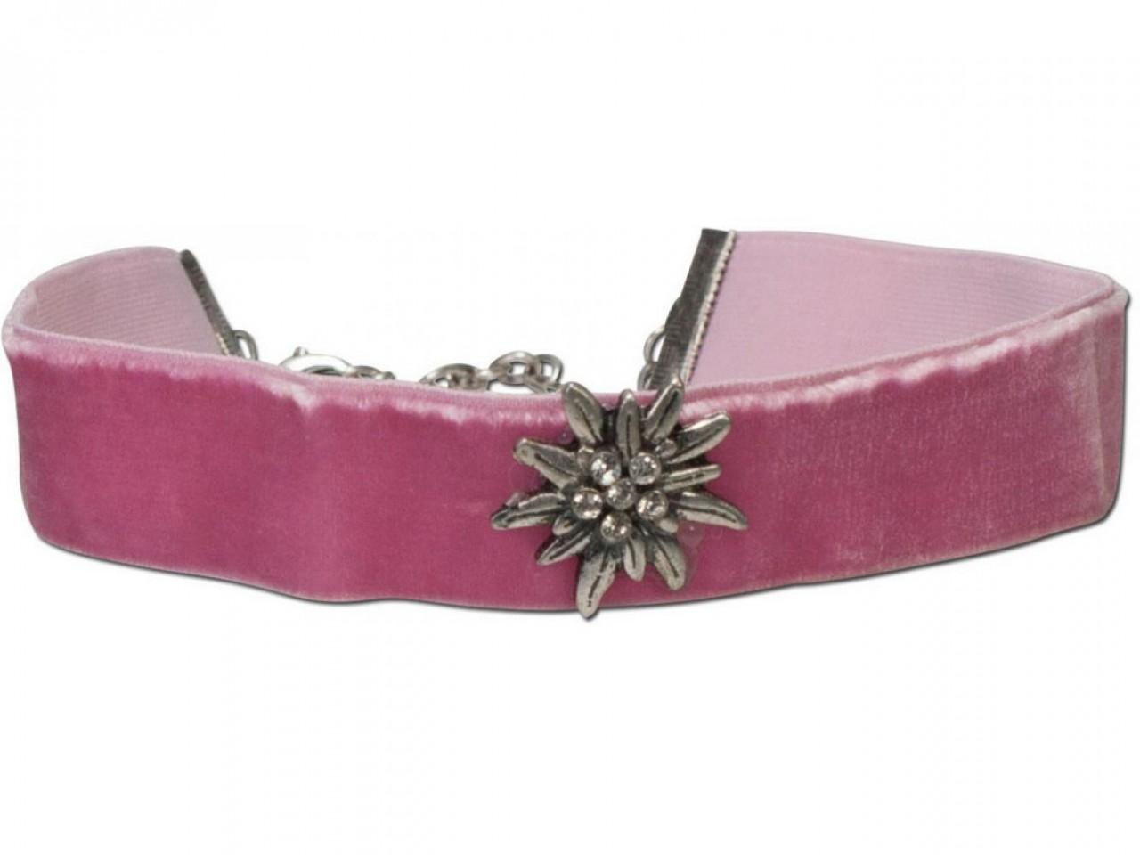 Samtkropfband breit mit Edelweiß rosa