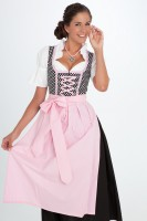 3-piece black dirndl with polka dots and light pink apron