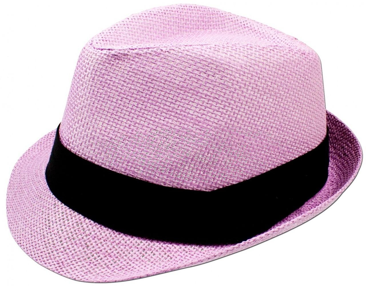 Trachten-Strohhut schlicht rosé