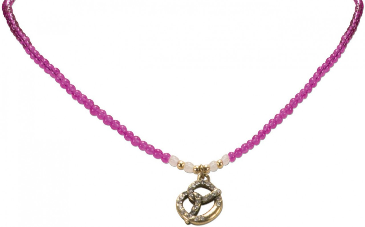 Perlenhalskette Strass-Brezel pink