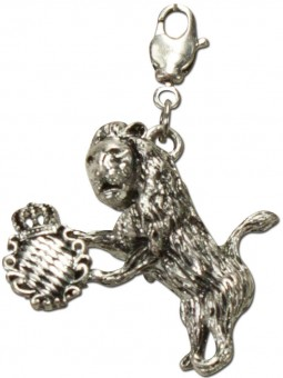 Trachten Lion Pendant, Antique Silver