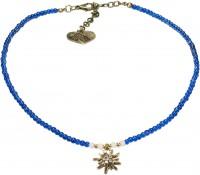 Vorschau: Perlenhalskette Strass-Edelweiß blau