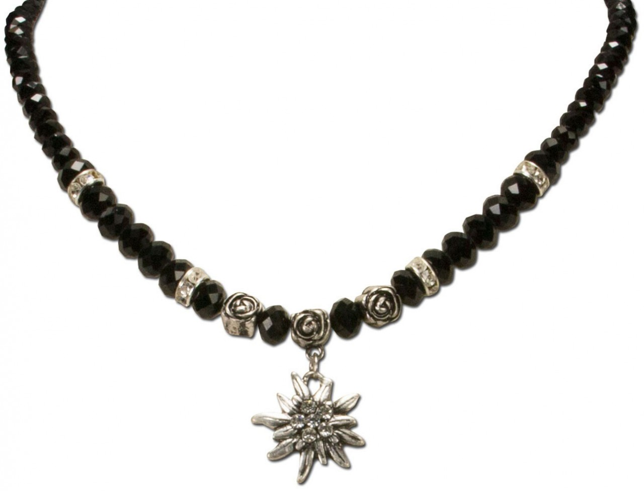 Perlenhalskette kleines Edelweiß schwarz
