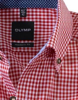 Olymp Hemd Trachtenhemd rot/weiss, Kariert