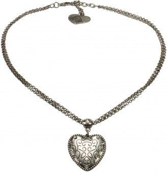 Necklace with Heart Pendant, Antique Silver