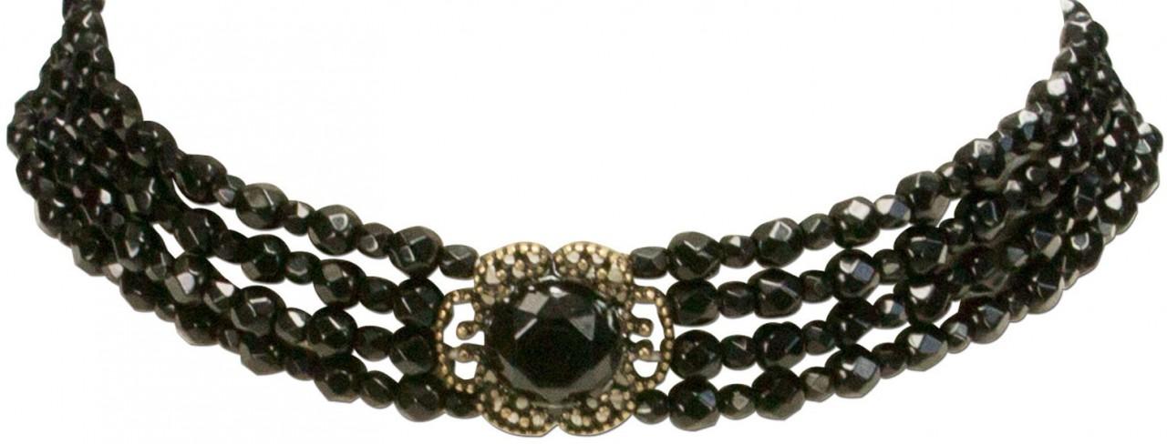 Trachten-Perlenkette Ellie schwarz