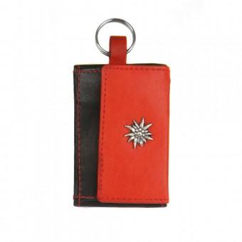 Schlüsselgeldbörse echt Leder schwarz-rot