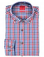 Trachtenhemd Olymp blau/rot kariert
