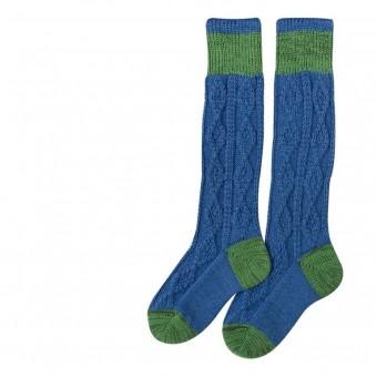 Kinderstrumpf in Blau mit grünem Streifen
