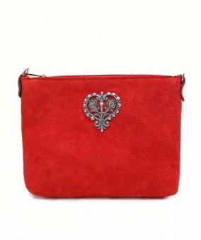 Wildledertasche Herz rot