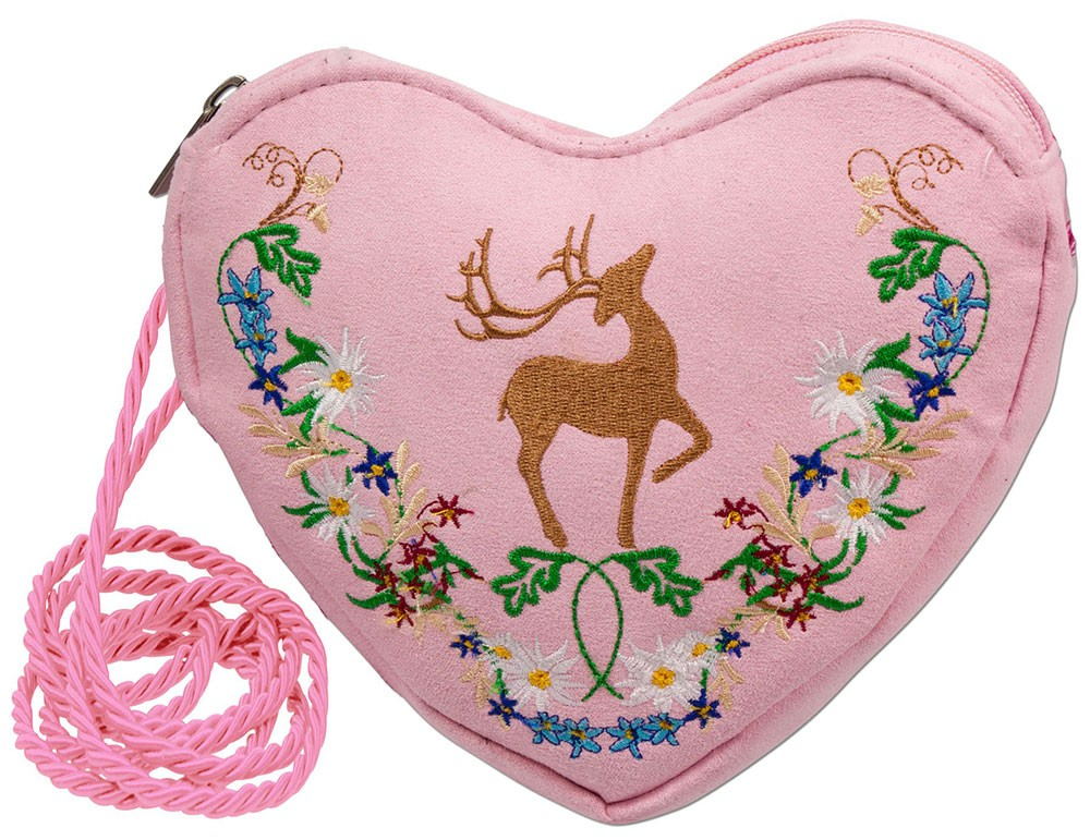 Heart pouch pink with deer and flower tendril