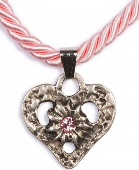 Kordelkette Herz mit Stein, rosa