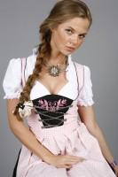 3-piece pink gingham dirndl with pink floral appliqu