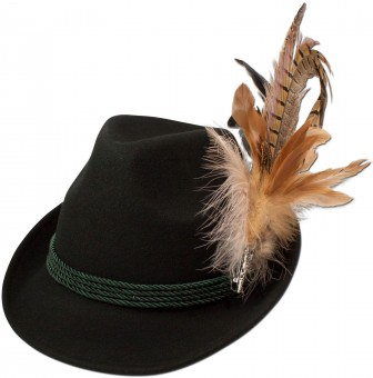 Trachten Felt Hat with Feathers, Black