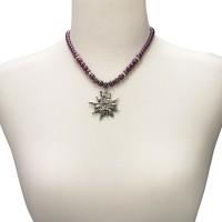 Vorschau: Perlenhalskette großes Edelweiß lila