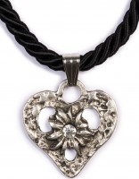 Kordelkette Herz mit Stein, schwarz Schwarz
