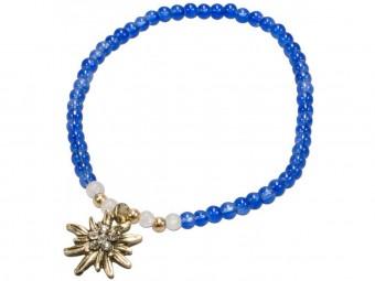 Trachten Perlenarmband Edelweiß blau