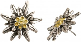 Trachten Earrings, Edelweiss, Yellow