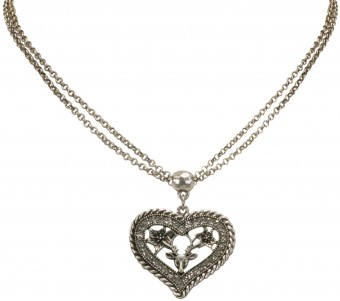 Necklace with Rhinestone Heart Pendant, Antique Silver