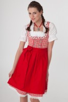 3-piece sexy dirndl in red gingham with ruffle detailing