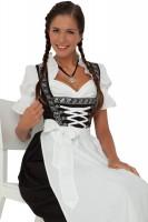 3-piece black, longer-length dirndl with white apron