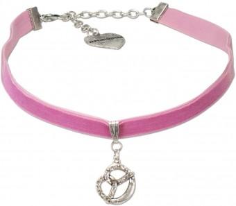 Trachten Samtkropfband Brezel rosa