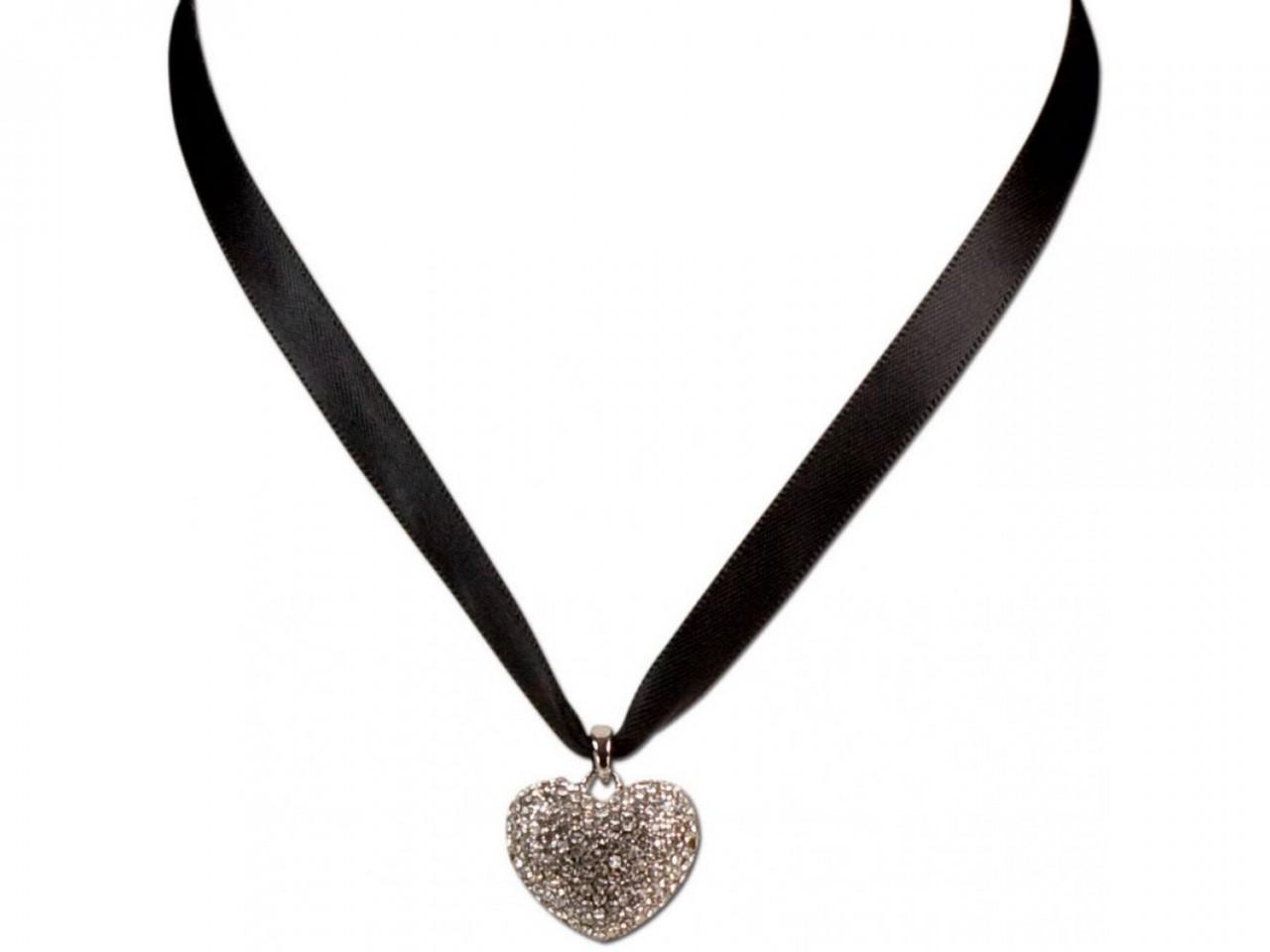 Satin Halskette mit Strassherzerl schwarz