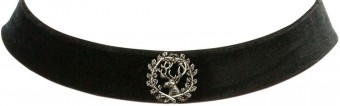 Trachten Choker with Deer Pin, Black