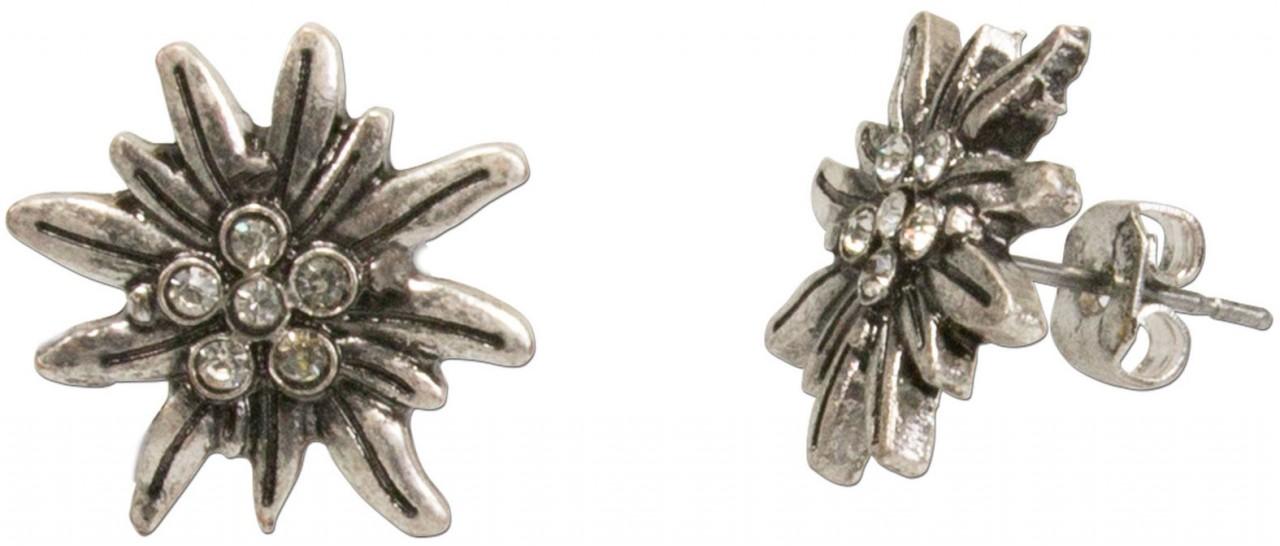 Mini Trachten Earrings, Edelweiss, Silver