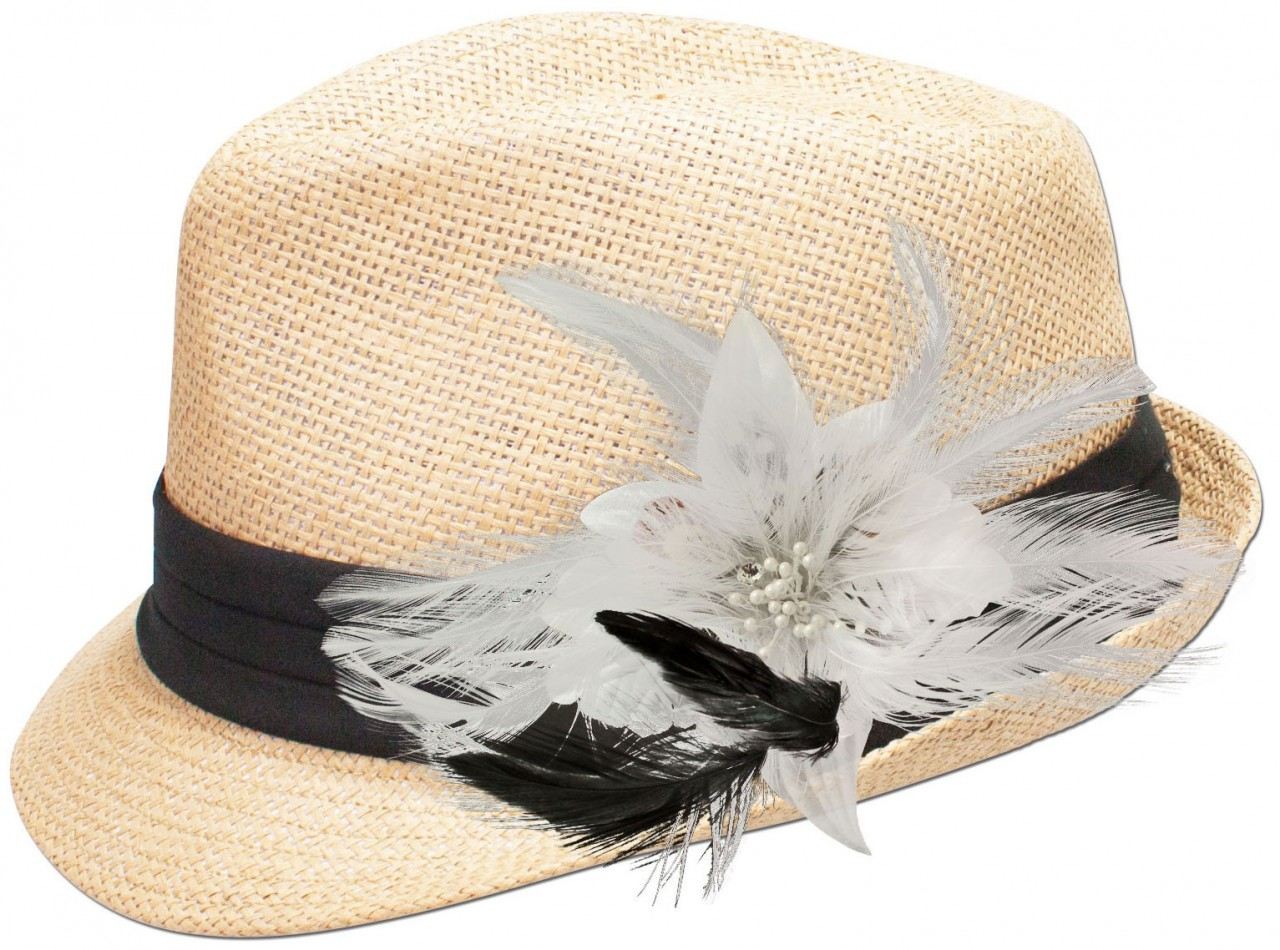 Strohhut Resi mit weißer Federbrosche