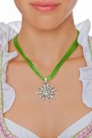 Vorschau: Edelweiß Kette mit 4 Satinbändern, apfelgrün