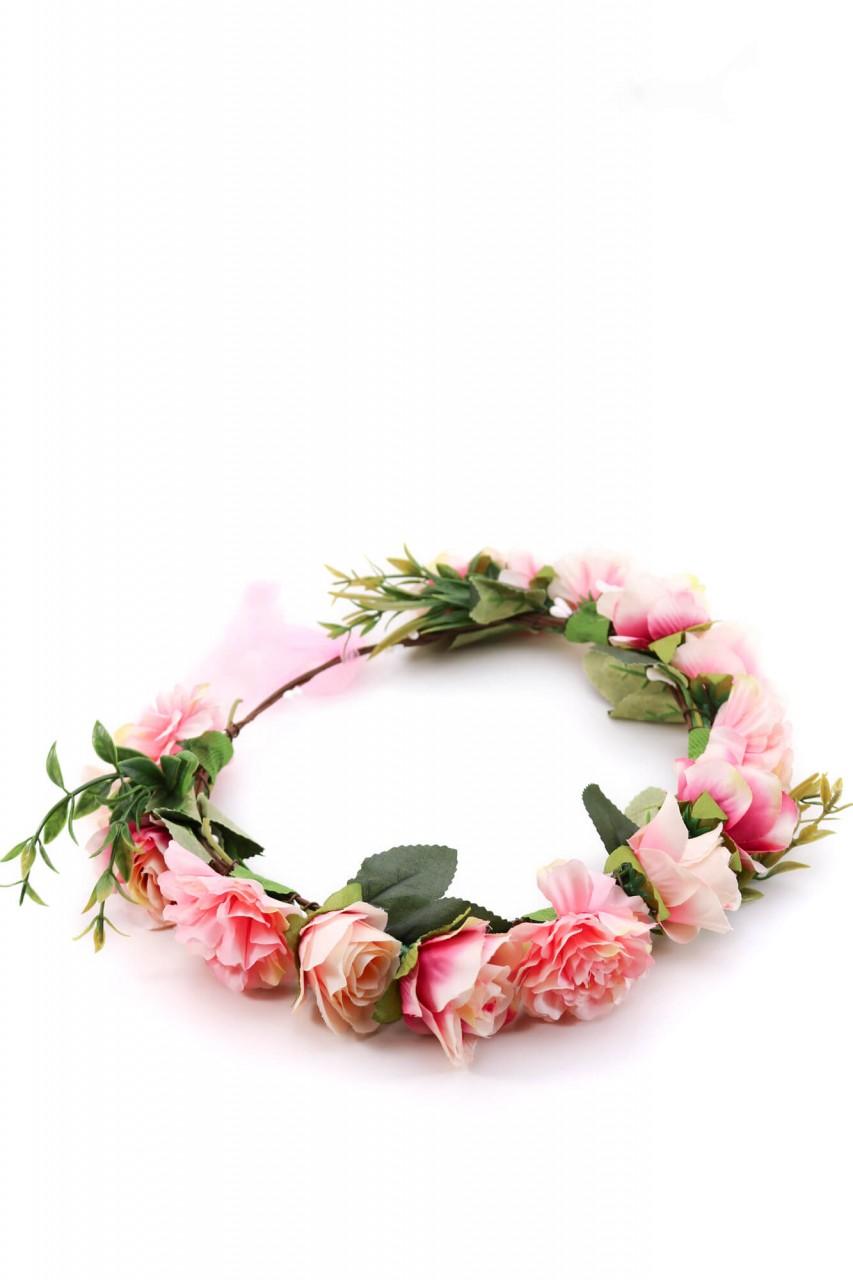 Haarkranz mit rosa Blüten
