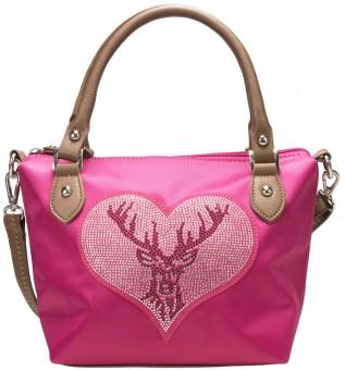 Trachten Handtasche mit Strass-Hirsch pink
