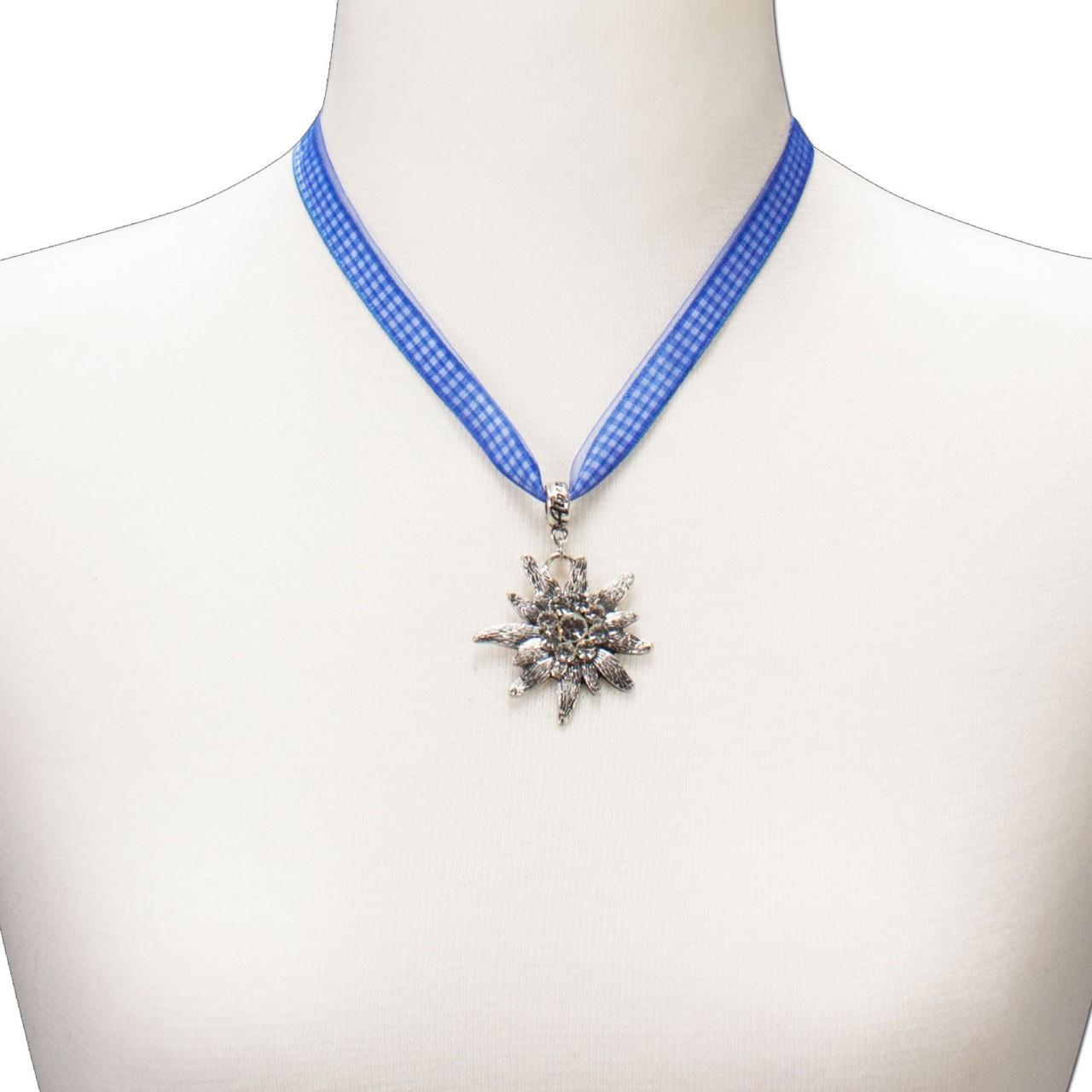 Karoband-Trachtenkette Edelweiß blau